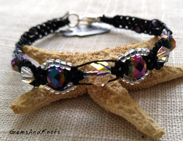 Iridescent Crystal Purple Black Micro Macrame Bracelet