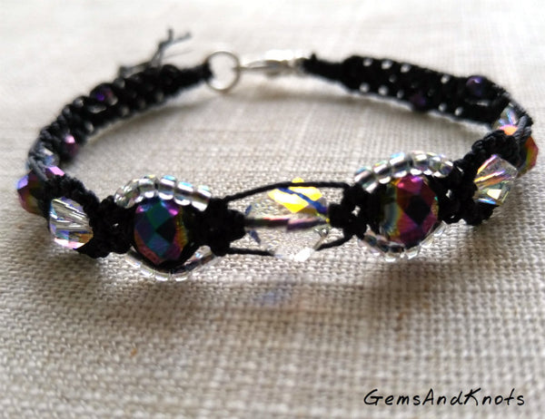 Crystal Purple Black Micro Macrame Bracelet