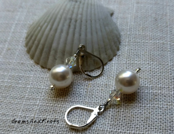 Glass Pearl Crystal Sterling Silver Leverback Earrings