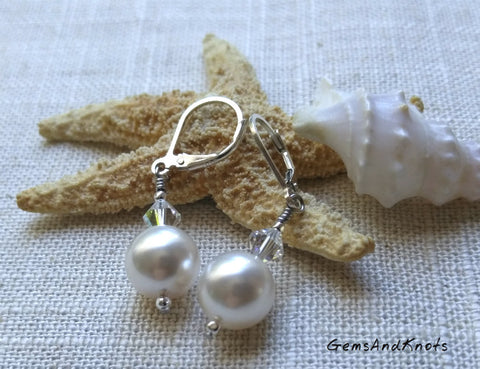 Crystal Glass Pearl Sterling Silver Leverback Earrings