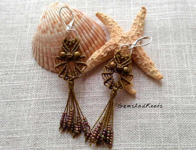 Olive Khaki Boho Macrame Owl Earrings