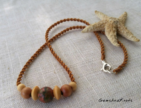 Autumn Jasper Stone Wood Spiral Macrame Necklace