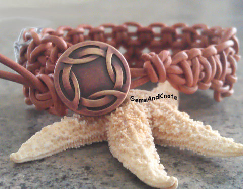 Tan Leather Macrame Bracelet Copper Celtic Button