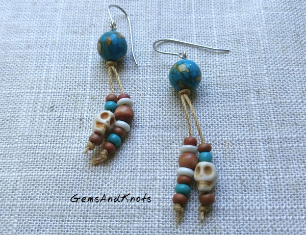 Knotted Dyed Turquoise Stone Dangle Earrings