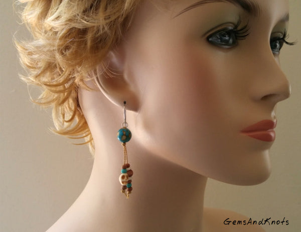 Dyed Turquoise Stone Hand Knotted Dangle Earrings