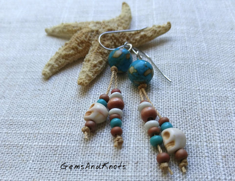 Hand Knotted Turquoise Stone Dangle Earrings