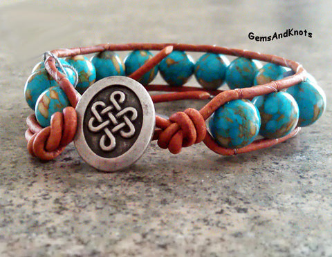 Turquoise Magnesite Stone Celtic Leather Wrap Bracelet