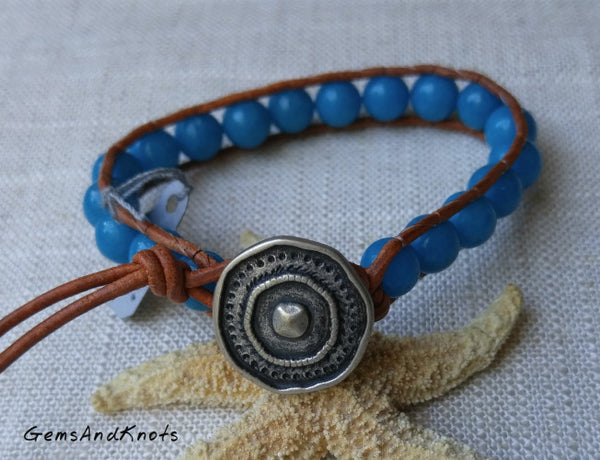 Turquoise Blue Dolomite Stone Leather Bracelet
