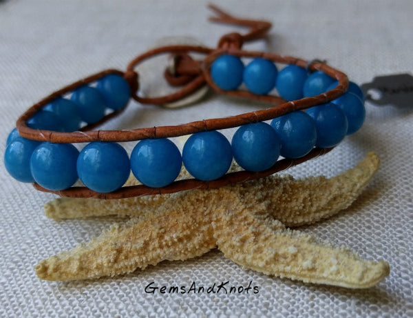 Turquoise Blue Marble Stone Leather Wrap Bracelet