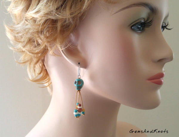 Knotted Turquoise Stone Skull Dangle Earrings