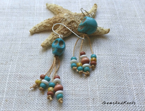 Hand Knotted Turquoise Skull Dangle Earrings