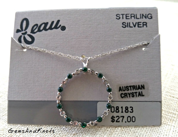 Beau Sterling Silver Emerald Crystal Necklace