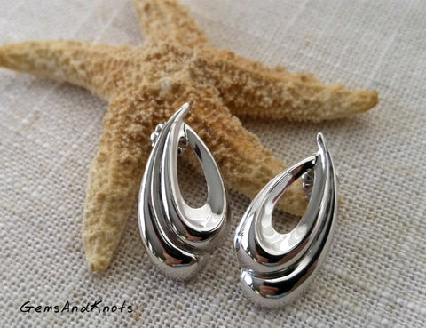 Vintage Beau Jewelry Sterling Silver Swirl Earrings