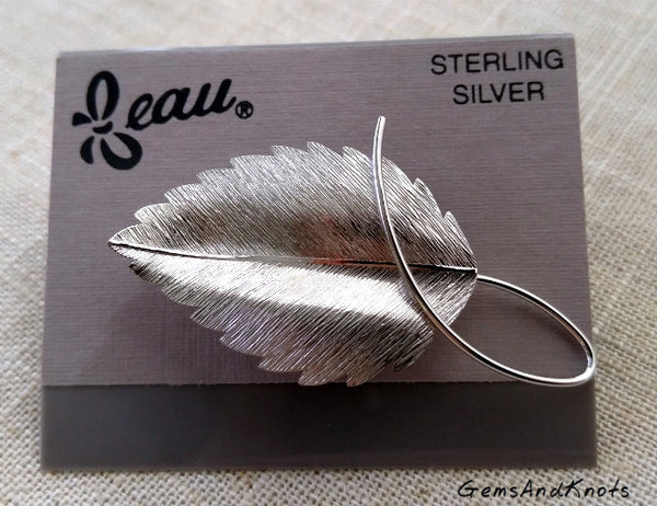 Beaucraft Jewelry Satin Sterling Silver Leaf Pin