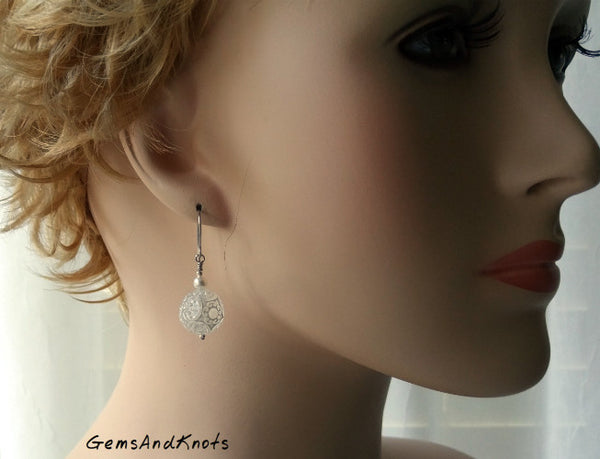 Vintage White Lace Lucite Dangle Earrings