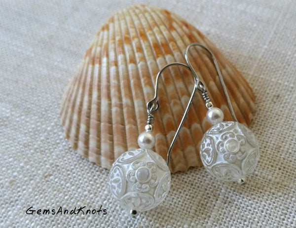 White Lace Snowball Vintage Lucite Dangle Earrings