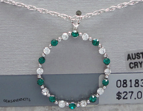 Vintage Beau Sterling Silver Emerald Crystal Necklace