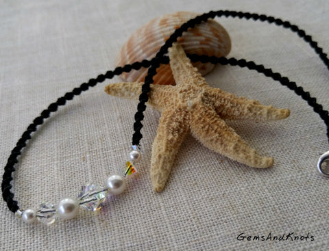 Crystal Glass Pearl Black Spiral Micro Macrame Necklace