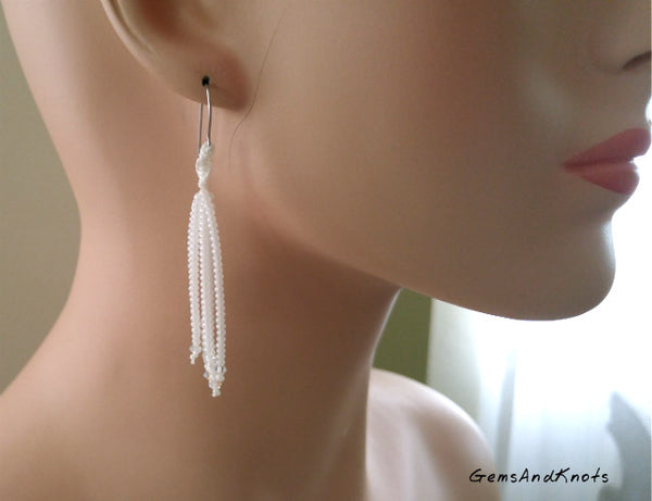 White Crystal Glass Waterfall Macrame Earrings