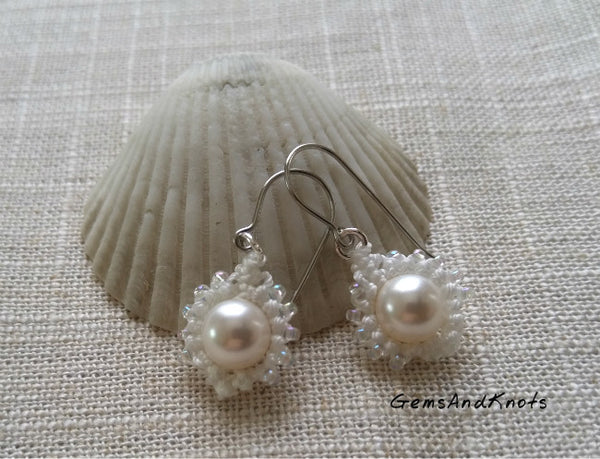 White Pearl Micro Macrame Earrings