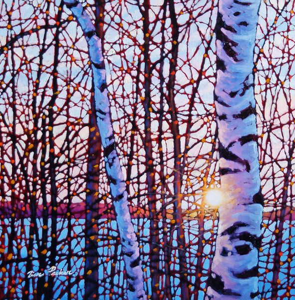 "Shining Birches Lake Baptiste 18"" by 18"""