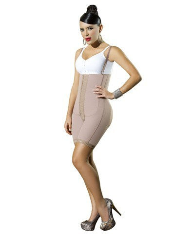 Body Girdle Strapless, lower cut in back (backless-detachable straps) up to the knee (10112)