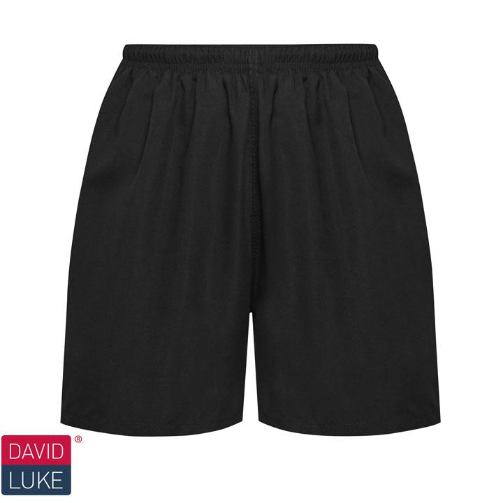 David Luke Black Swim Short with Tie Waist & Liner (DL29)