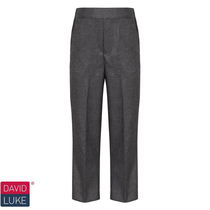 David Luke Boys Junior Flat Front, Slim Fit Pull Up Trousers (DL939)