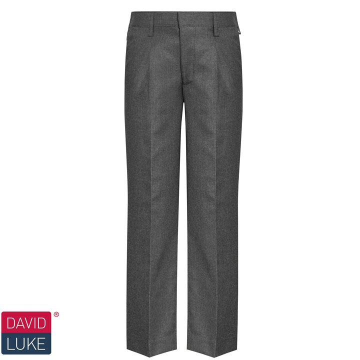 David Luke Boys Grey Junior Slim Fit, Flat Front Trousers (DL944)