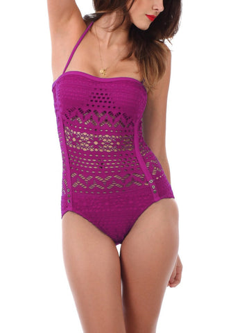 Dark Magenta Lace Halter Swimsuit