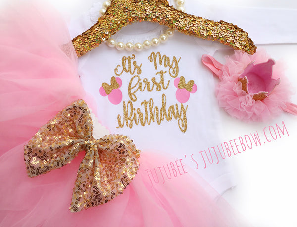 First Birthday Shirt, 1st Birthday, Birthday Outfit, Pink and Gold Outfit, Girls Birthday Outfit, Pink Tutu, Tutu,