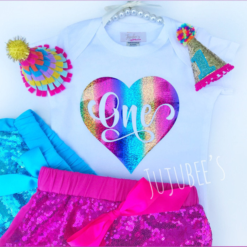 Birthday Shirt, ONE Birthday Shirt, Rainbow Party, First Birthday, Girls Clothing, Girls Birthday Outfit, 1st birthday outfit