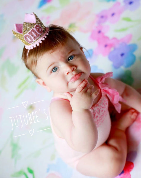 Birthday Crown, First Birthday Crown, 1st Birthday Crown,  Pink Birthday Crown, Unicorn Birthday Party