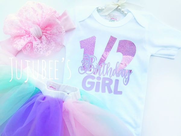 6 Month Birthday/Half Birthday Set/Half Birthday Set/Half Birthday Top/Half Year Birthday/Half Birthday Tee/Half Birthday Tutu