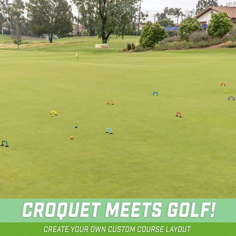 GoSports Putt-Thru Croquet Putting Game | Includes 9 Gates, 4 Golf Balls and Tote Bag | Play at Home, the Office or On the Green!