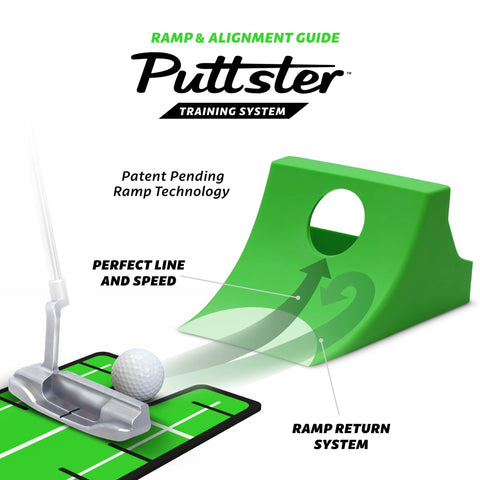 GoSports Puttster Golf Putting Hole Trainer – Alignment Aid with Cup Ramp Return System
