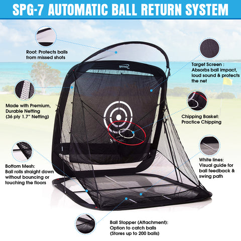 Spornia SPG-7 Golf Practice Net with Ball Return System