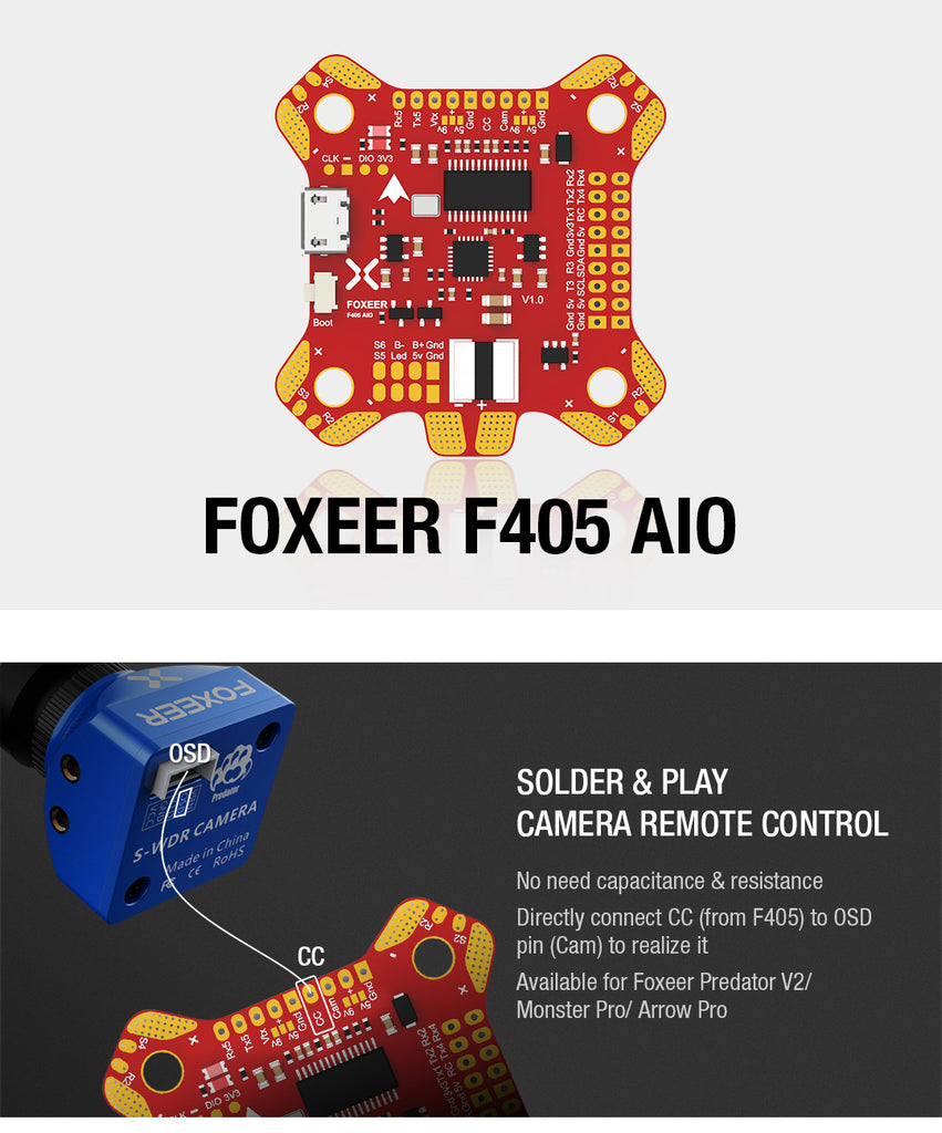 FOXEER F405 AIO F4 Flight Controller for Sale