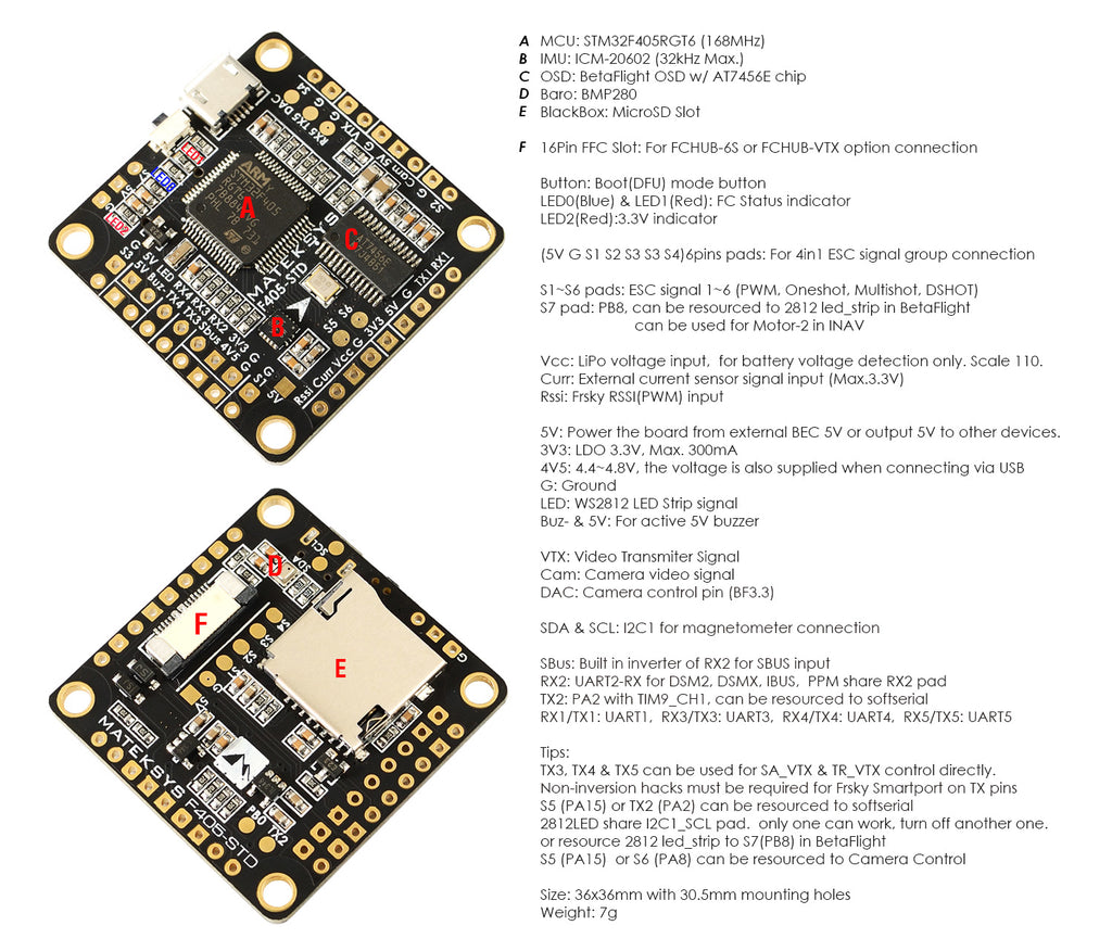 Matek F405 Std Flight Controller W 32k Gyro Bfosd Barometer How To Build A Current Sensor Circuit Using The Ribbon Connector With Fchub Vtx Or 6s Makes For Clean
