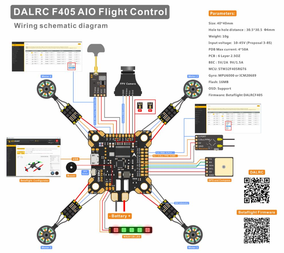 Dalrc F405 Aio Flight Controller Racedayquads Control Wiring Schematic You Can However Still Wire Up Any 4 1 Esc By Routing The Wires Appropriately