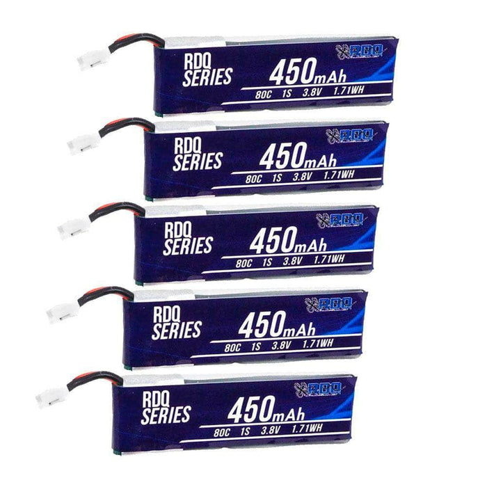 5 PACK of RDQ Series 3.8V 1S 450mAh 80C LiHV Whoop/Micro Battery for TinyHawk - PH2.0 - RaceDayQuads