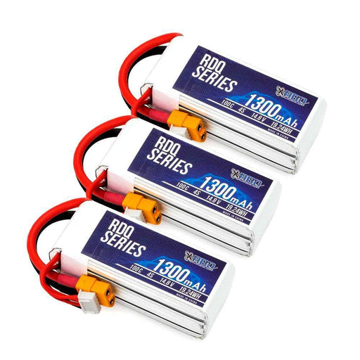 3 PACK of RDQ Series 14.8V 4S 1300mAh 100C LiPo Battery - XT60 - RaceDayQuads