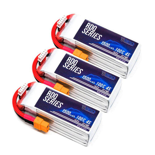 3 PACK of RDQ Series 14.8V 4S 1500mAh 100C LiPo Battery - XT60 - RaceDayQuads