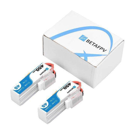 BetaFPV 14.8V 4S 450mAh 75C Whoop/Micro Battery 2 Pack - XT30 - RaceDayQuads