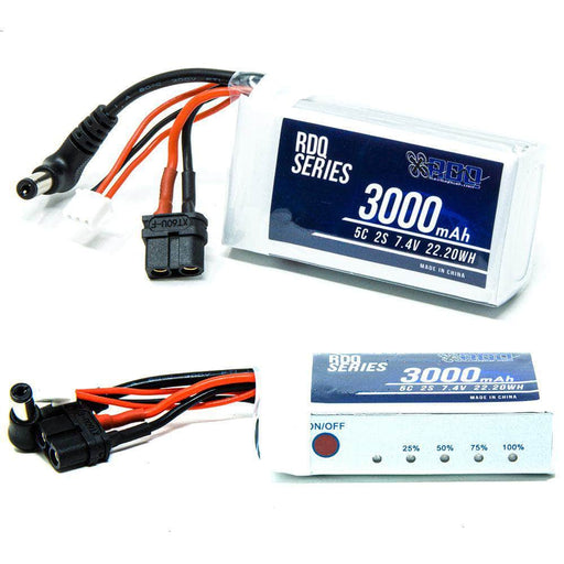 RDQ Series 7.4V 2S 3000mAh FPV Goggle LiPo Battery w/ Charge Indicator for Sale