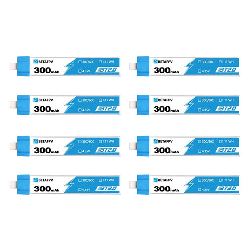 BetaFPV 3.8V 1S 300mAh 30C LiHV Whoop/Micro Battery 8 Pack - BT2.0