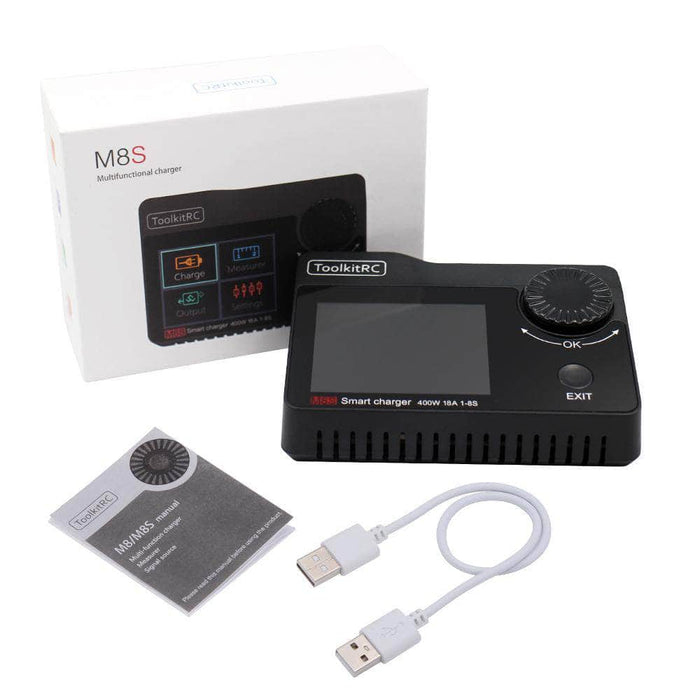 ToolkitRC M8S 400W 18A Battery Charger, Cell Checker, Servo Tester, Receiver Tester & Variable DC Output Controller