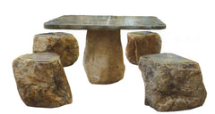 Dragon Jade Boulder Garden Table with 4 Stools