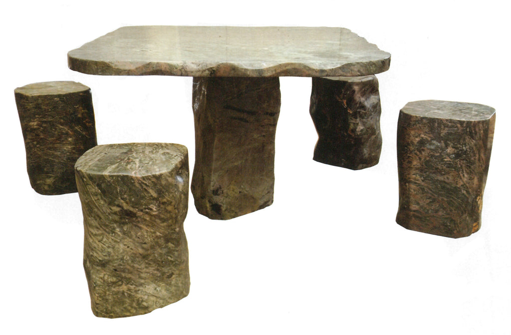 Dragon Jade Patio Table with 4 Stools