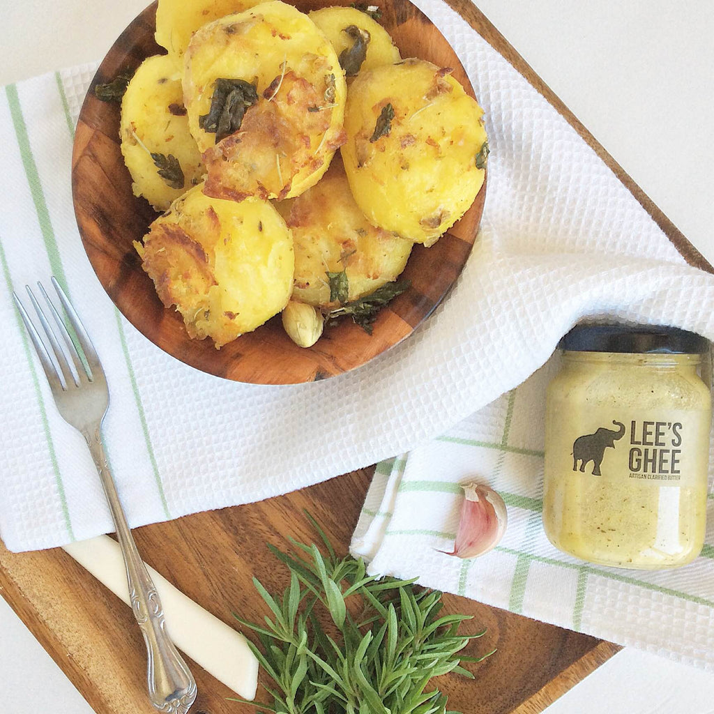 Roasted Garlic and Herbed Potatoes with 'Za'atar Star' Ghee